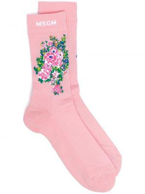 Хлопковые розовые носки в рубчик Msgm