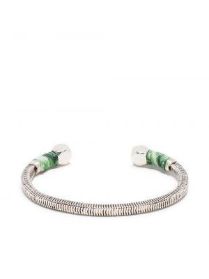 Хлопковый серебряный браслет в рубчик Gas Bijoux