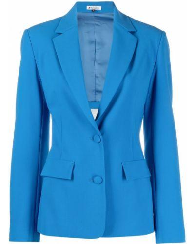 Синий удлиненный пиджак на пуговицах с карманами Krizia