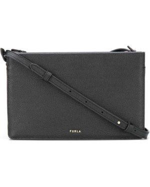 С ремешком черная кожаная сумка из натуральной кожи с заплатками Furla