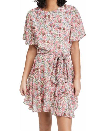 Розовое платье мини с поясом с декольте English Factory