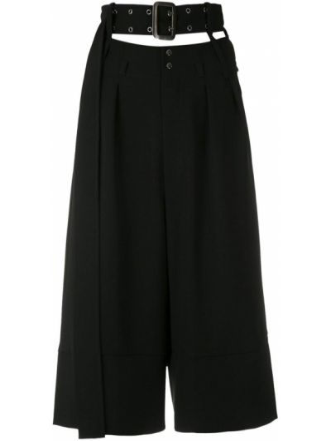 Черные укороченные брюки со складками свободного кроя с высокой посадкой Gloria Coelho