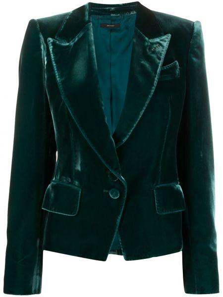 Зеленый однобортный бархатный удлиненный пиджак Tom Ford