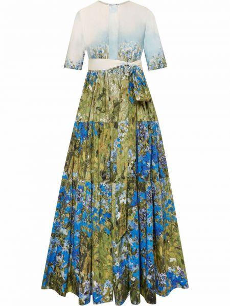 Платье макси длинное - синее Oscar De La Renta
