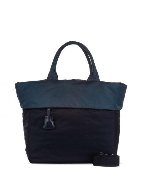 Синяя нейлоновая сумка на плечо на молнии с карманами Prada Pre-owned