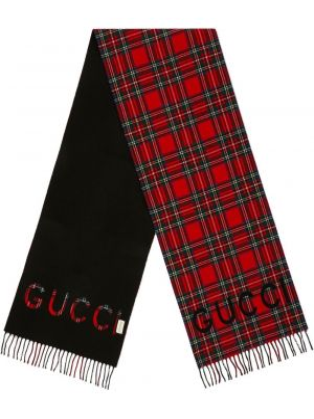 Prążkowany z kaszmiru szalik z printem Gucci