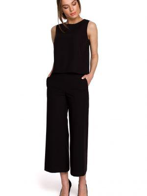 Czarna bluzka elegancka bez rękawów z wiskozy Stylove