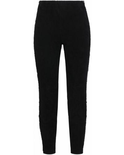 Кожаные черные брюки в полоску Amanda Wakeley