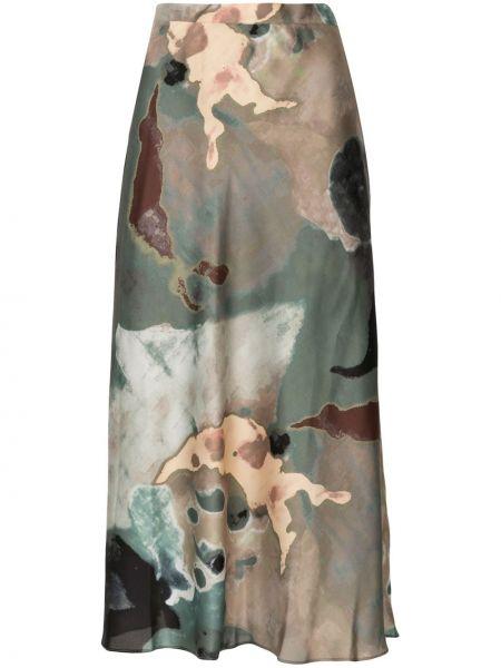 С завышенной талией зеленая прямая юбка Beaufille