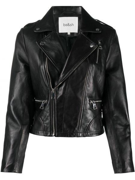 Черная кожаная длинная куртка байкерская Ba&sh