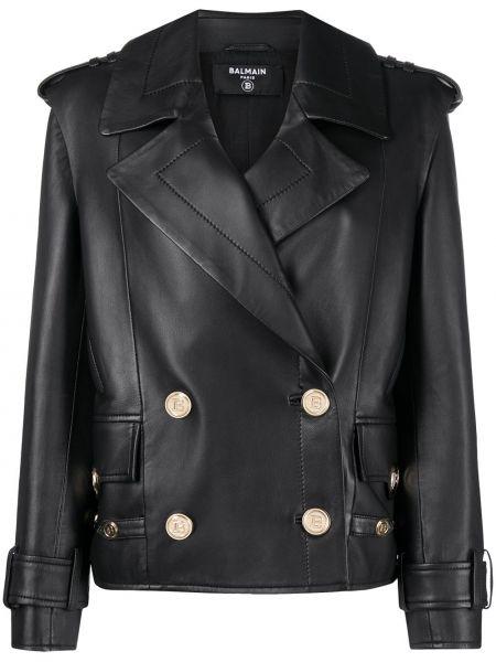 Кожаная куртка на пуговицах - черная Balmain