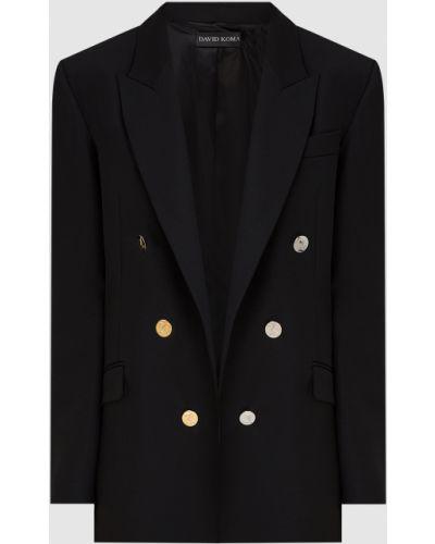 Шерстяной черный пиджак David Koma
