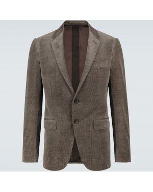 Кашемировый коричневый однобортный пиджак на кнопках Ermenegildo Zegna