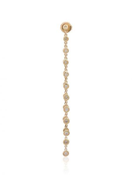 С ромбами золотистые желтые серьги-гвоздики с бриллиантом Jacquie Aiche