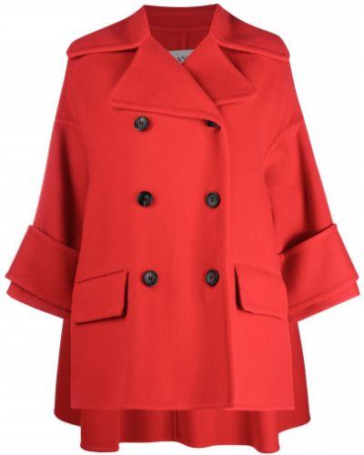 Красное кашемировое пальто двубортное Lanvin
