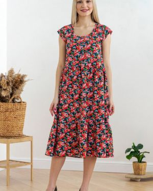 Платье с цветочным принтом красный инсантрик