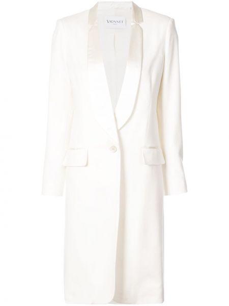 Белое кашемировое длинное пальто с капюшоном Vionnet