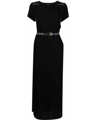 Черное платье миди с поясом с вырезом Liu Jo