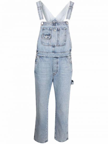 Синий хлопковый джинсовый комбинезон без рукавов Mother