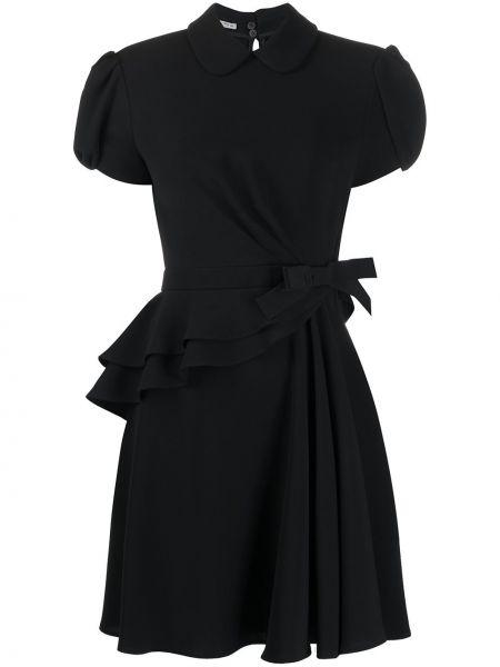 Черное расклешенное платье мини на пуговицах с воротником Miu Miu