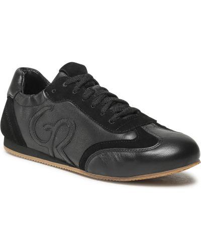 Buty sportowe skorzane - czarne Gino Rossi