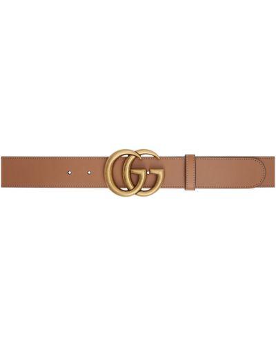 Skórzany pasek z paskiem złoto Gucci
