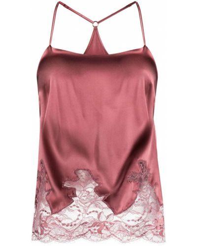 Розовый ажурный топ на бретелях из вискозы с вырезом Fleur Of England