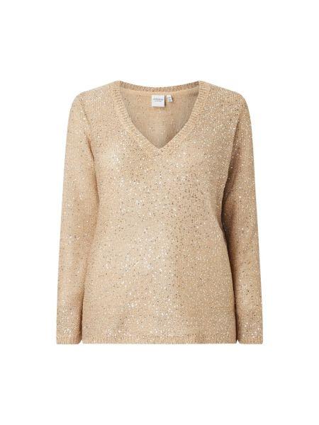 Prążkowany beżowy sweter z cekinami Junarose
