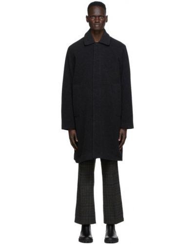 Черное шерстяное длинное пальто с воротником с подкладкой Schnaydermans