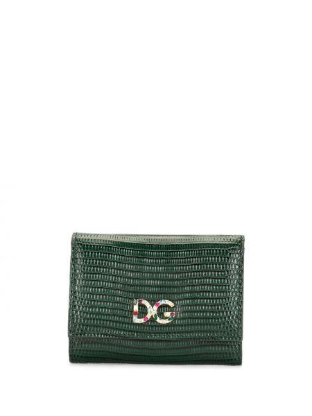 Золотистый зеленый кожаный кошелек Dolce & Gabbana