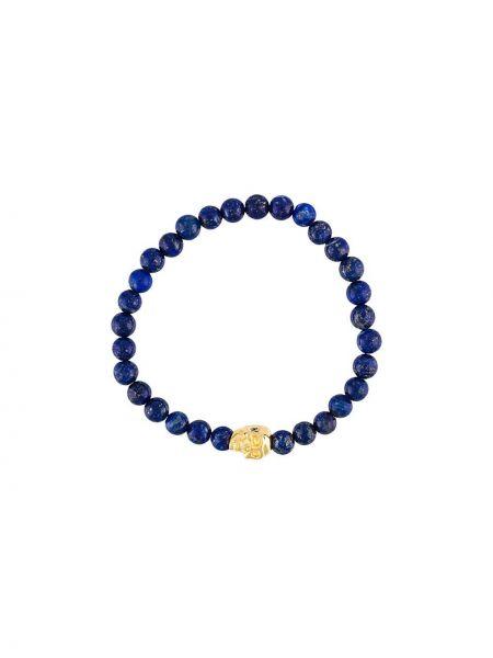 Синий браслет позолоченный с черепами Nialaya Jewelry