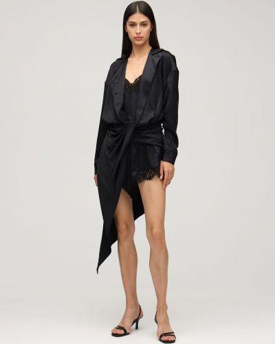 Czarny jedwab sukienka mini z draperią Alexander Wang