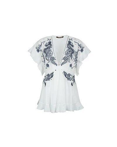 Хлопковая блузка - белая Roberto Cavalli