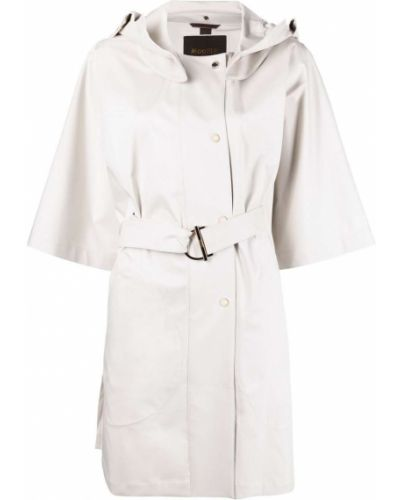 Белое пальто классическое с капюшоном свободного кроя Moorer