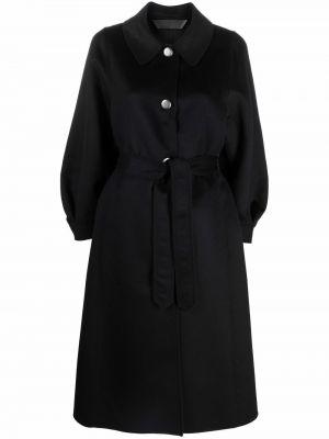 Черное длинное пальто Giorgio Armani
