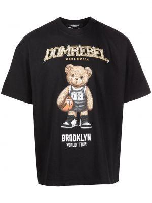 Czarna t-shirt z printem Domrebel