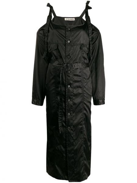 Черное пальто на пуговицах Ottolinger