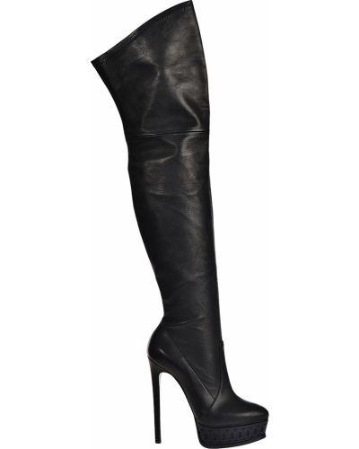 Ботфорты на каблуке кожаные черные Casadei
