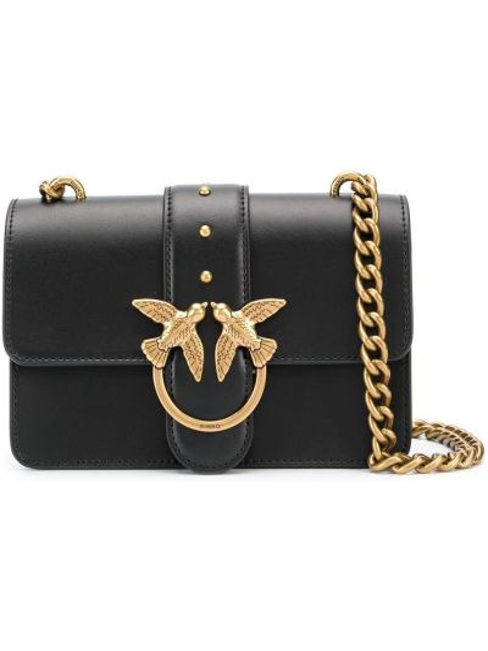 С ремешком черная кожаная сумка на цепочке Pinko