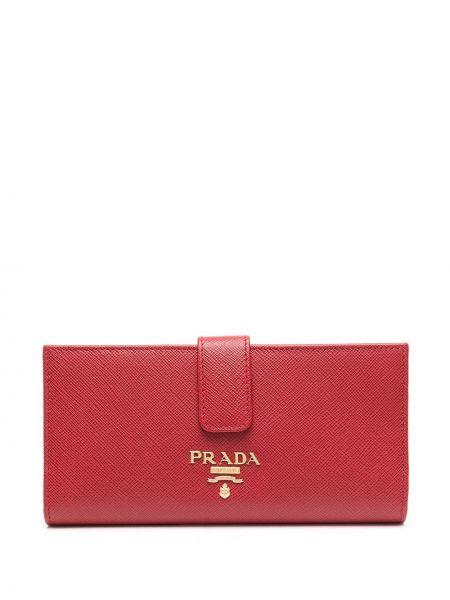 Skórzany portfel z kieszeniami złoto z gniazdem Prada