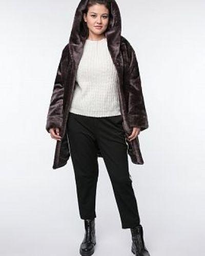 Пальто с капюшоном - коричневое каляев