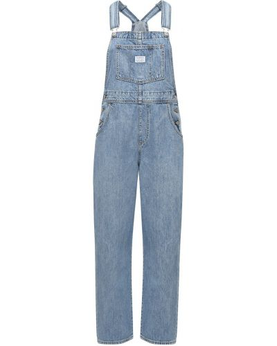 Хлопковый синий джинсовый комбинезон с карманами Levi's Red Tab