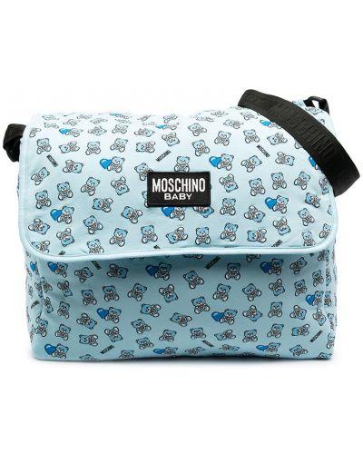 Синяя хлопковая сумка на плечо с нашивками Moschino Kids