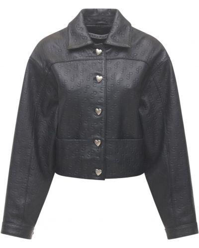 Черная кожаная куртка на резинке Saks Potts
