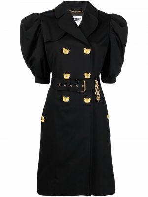 Черное пальто объемное Moschino