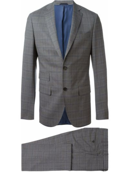 Шерстяной серый костюмный костюм на пуговицах Fashion Clinic Timeless