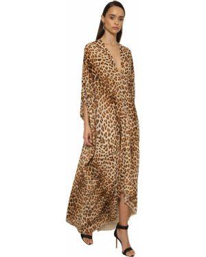 Платье с V-образным вырезом шелковое Roberto Cavalli