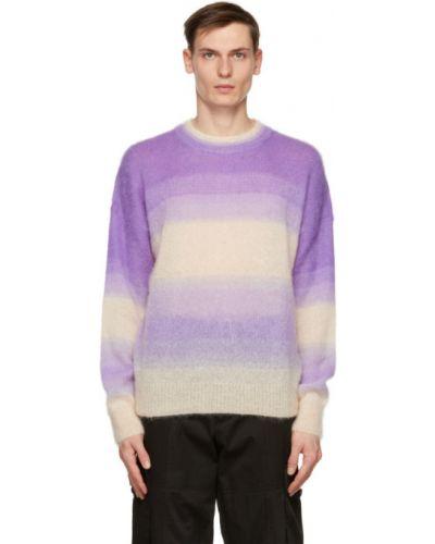 Белый длинный свитер из мохера в полоску Isabel Marant