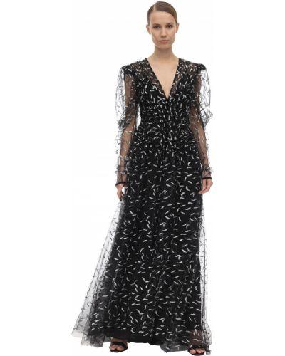 Czarna sukienka długa z falbanami tiulowa Sandra Mansour