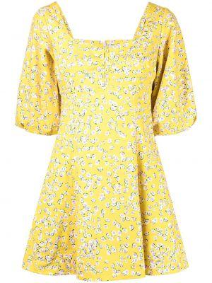 Платье мини в цветочный принт - желтое Nicholas